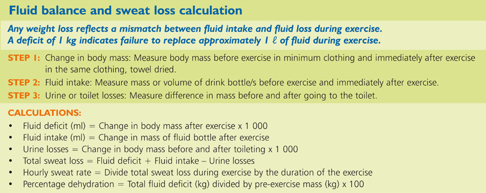 Fluid balance and sweat loss calculation