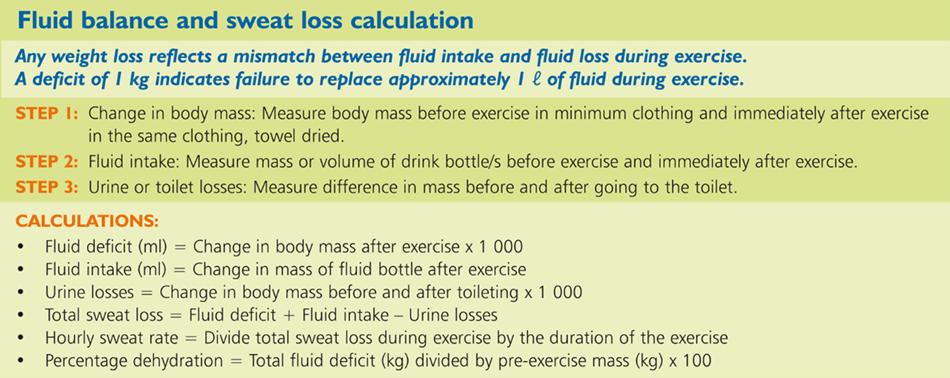 Fluid balance and sweat loss calculation
